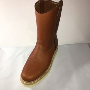 Men's pull on work steel toe leather brown boots